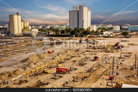 Large Construction Project stock photo, A large construction project coming out of the ground in an industrial area by Darryl Brooks