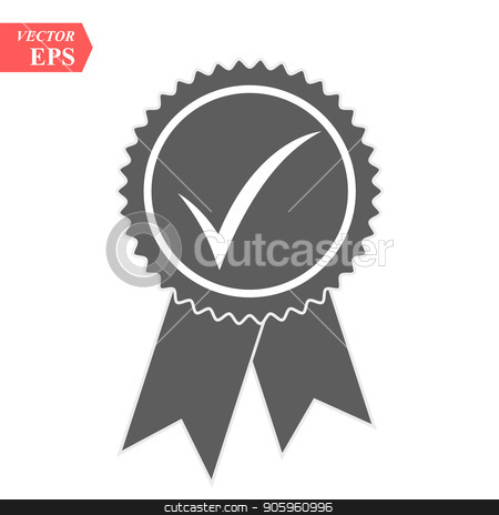 Ribbon, Check Mark Icon Vector Logo Template stock vector clipart, Ribbon, Check Mark Icon Vector Logo Template eps10 by elnurbabayev