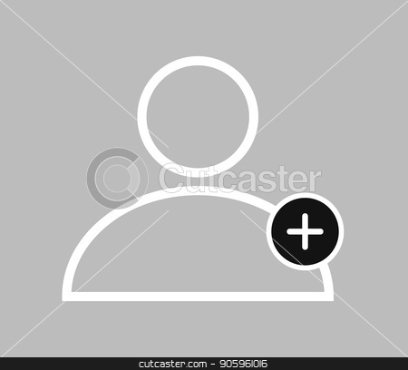 icon add people stock vector clipart, icon add people by Mark1987