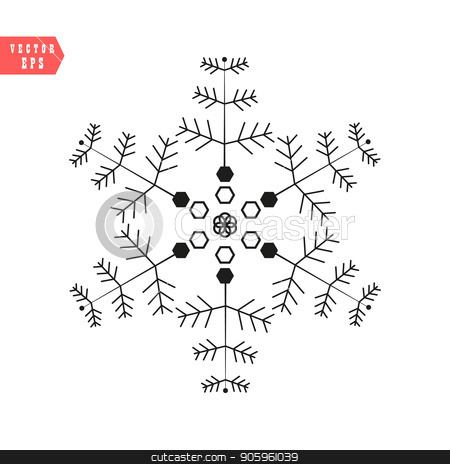 Snowflake icon, vector simple flat single color isolated on white. Christmas winter holiday theme decorative design element. stock vector clipart, Snowflake icon, vector simple flat single color isolated on white. Christmas winter holiday theme decorative design element. eps10 by elnurbabayev