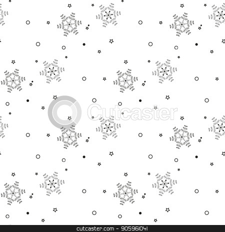Christmas seamless pattern from gray snowflakes on white background stock vector clipart, Christmas seamless pattern from gray snowflakes on white background eps10 by elnurbabayev
