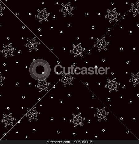White snowflakes seamless pattern on black Christmas background. stock vector clipart, White snowflakes seamless pattern on black Christmas background. eps10 by elnurbabayev