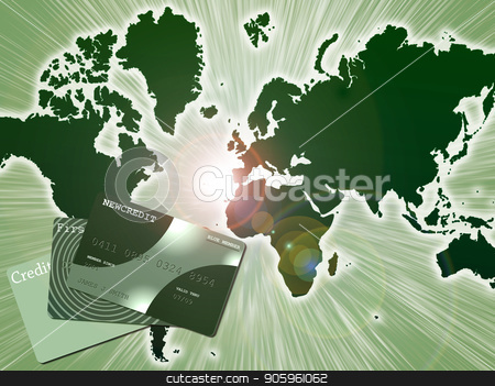 Worldwide Payment Solution stock photo, Credit cards on world's map background. by Bruce Rolff