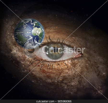 The eye of space stock photo, Surrealism. Woman's eye with galaxies. by Bruce Rolff