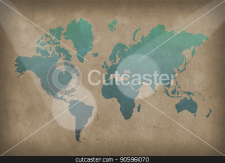 World Map stock photo, World map. Painting in blue color on the wall. 3D rendering by Bruce Rolff