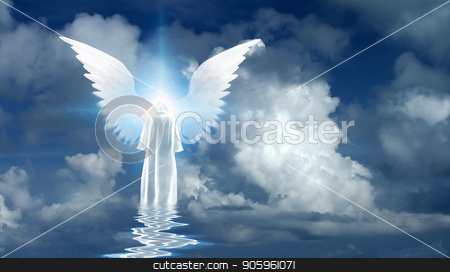 Angel's star stock photo, Figure in white cloak stands on water surface. Winged star in cloudy sky. 3D rendering by Bruce Rolff