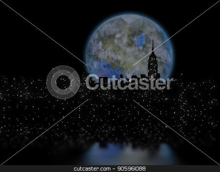 Terraformed moon over Manhattan stock photo, 3D rendering. Terraformed moon over night city. by Bruce Rolff