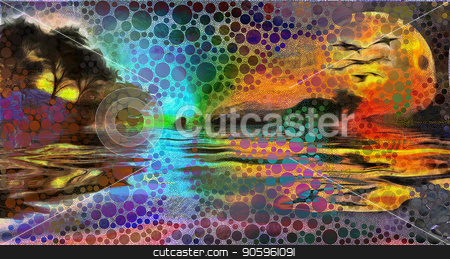Forest lake sunset stock photo, Sunset over forest lake. Circles pattern by Bruce Rolff