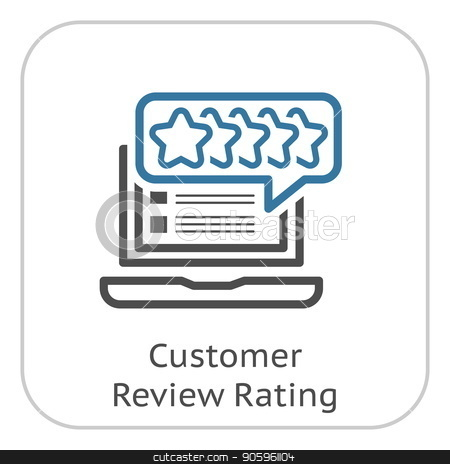 Customer Review Rating Line Icon. stock vector clipart, Customer Review Rating Line Icon. Client Satisfaction symbol. Customer Relationship Management. Isolated UI element. by Vadym Nechyporenko