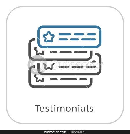 Testimonials Line Icon. stock vector clipart, Testimonials Icon. Client Satisfaction symbol. Customer Relationship Management. Isolated UI element. by Vadym Nechyporenko