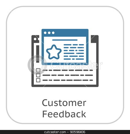 Customer Feedback Line Icon. stock vector clipart, Customer Feedback Line Icon. Client Satisfaction symbol. Customer Relationship Management. Isolated UI element. by Vadym Nechyporenko