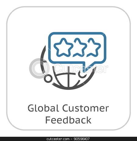 Global Customer Feedback Line Icon. stock vector clipart, Global Customer Feedback Line Icon. Client Satisfaction symbol. Customer Relationship Management. Isolated UI element. by Vadym Nechyporenko