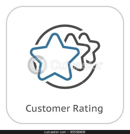 Customer Rating Line Icon. stock vector clipart, Customer Rating Line Icon. Client Satisfaction symbol. Customer Relationship Management. Isolated UI element. by Vadym Nechyporenko
