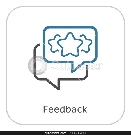 Feedback Line Icon. stock vector clipart, Feedback Line Icon. Client Satisfaction symbol. Customer Relationship Management. Isolated UI element. by Vadym Nechyporenko