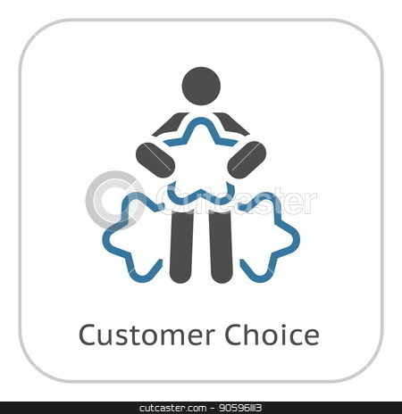Customer Choice Line Icon. stock vector clipart, Customer Choice Line Icon. Client Satisfaction symbol. Customer Relationship Management. Isolated UI element. by Vadym Nechyporenko
