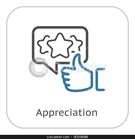 Appreciation Line Icon. stock vector clipart, Appreciation Line Icon. Client Satisfaction symbol. Customer Relationship Management. Isolated UI element. by Vadym Nechyporenko