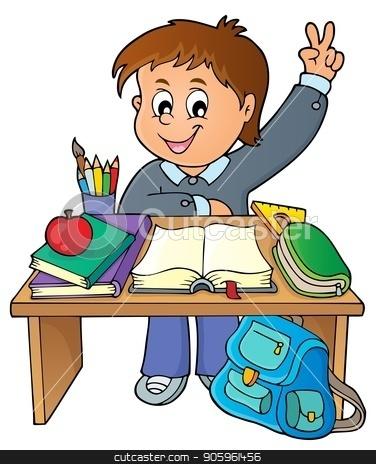 Boy behind school desk theme image 1 stock vector clipart, Boy behind school desk theme image 1 - eps10 vector illustration. by Klara Viskova