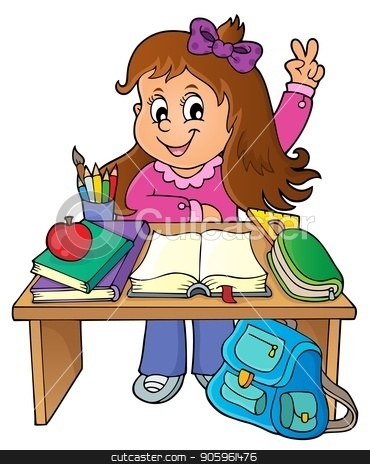 Girl behind school desk theme image 1 stock vector clipart, Girl behind school desk theme image 1 - eps10 vector illustration. by Klara Viskova