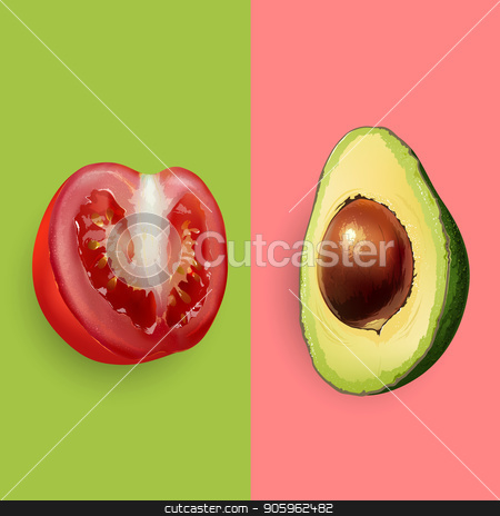 Avocado and tomato illustration stock photo, Avocado and tomato on pink and green background. by ConceptCafe