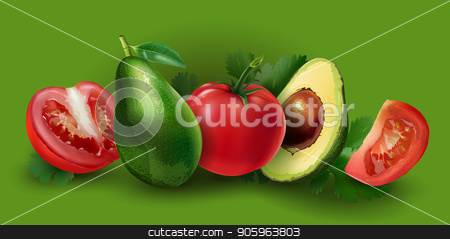 Avocado and tomato stock photo, Avocado and tomato slices on a green background. by ConceptCafe