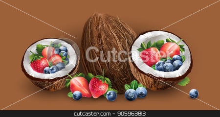 Coconut, blueberries and strawberry stock photo, Coconut, blueberries and strawberry on a chocolate background. by ConceptCafe
