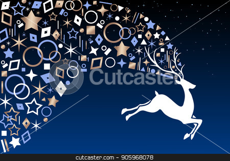 Christmas deer with copper ornaments on night sky stock vector clipart, Christmas reindeer jumping on night sky background with metallic copper icon ornament decoration. EPS10 vector. by Cienpies Design