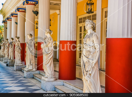 Row of Greek Statues and Columns stock photo, Statues and columns outside an ancient Greek palace by Darryl Brooks