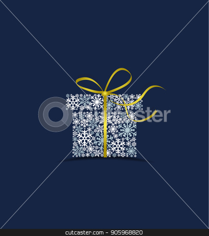 Christmas gift made from snow stock vector clipart, Vector illustration of a Christmas gift made from snow on a blue background. Merry Christmas card with snowflakes by Miroslava Hlavacova