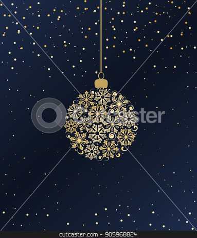 Merry Christmas ball stock vector clipart, Vector illustration Christmas ball made from snowflakes on a blue background by Miroslava Hlavacova