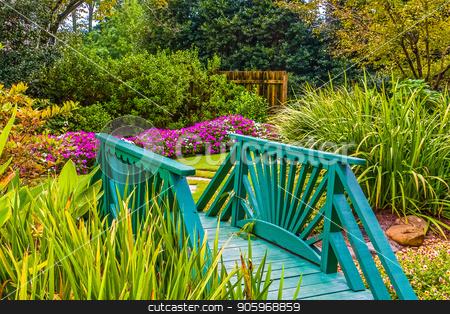 Green Garden Bridge stock photo, A nice green, wooden bridge through a private garden by Darryl Brooks