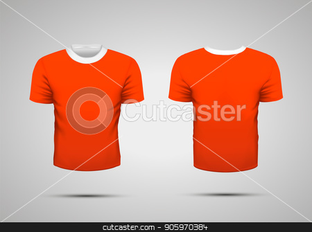 Mockup of blank red realistic sport t-shirt with shadow on gray stock vector clipart, Mockup of blank red realistic sport t-shirt with shadow by Evgeny