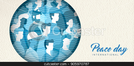 World Peace Day banner cutout for people unity stock vector