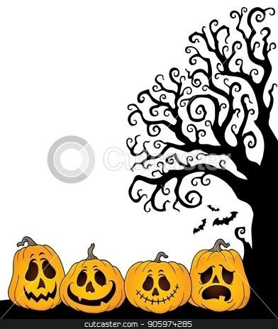 Halloween tree half silhouette theme 2 stock vector