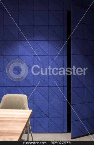 Nice interior with textured blue wall and door stock photo, Stylish luminous interior with a textured blue wall with a opened door and a gray floor. There is a wooden table with a light chair. Closeup. Vertical. by bezikus