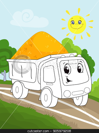 Coloring book page for preschool children with colorful background and sketch working truck car for coloring stock vector clipart, Coloring book page for preschool children with colorful background, and sketch big truck car for coloring by rivusdea