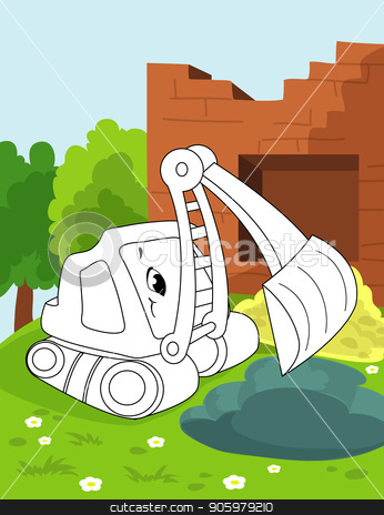 Coloring book page for preschool children with colorful background and sketch working bulldoser car for coloring stock vector clipart, Coloring book page for preschool children with colorful background, and sketch big truck car for coloring by rivusdea