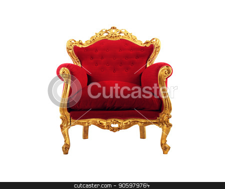 Red and gold luxury armchair isolated on white background stock photo, Concept of luxury and success with red velvet and gold armchair isolated on white background by Federico Caputo