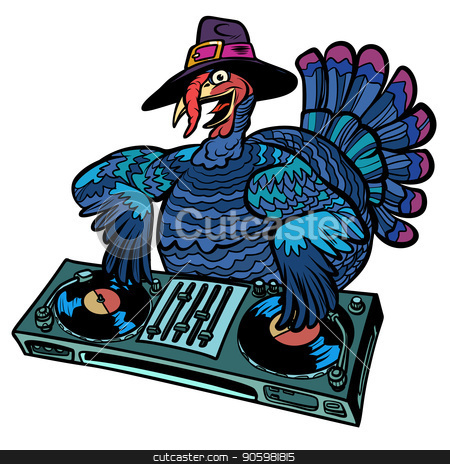 Thanksgiving Turkey character. Isolate on white background stock vector clipart, Thanksgiving Turkey character. DJ at the holiday party. Isolate on white background. Comic cartoon pop art retro vector illustration by rogistok
