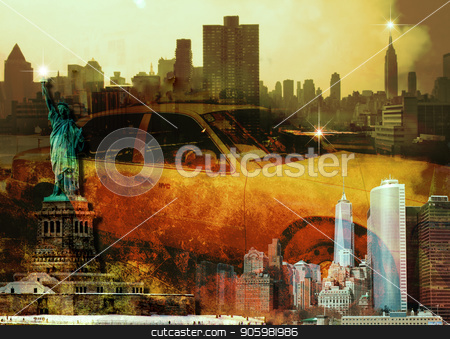 New York Composition stock photo, New York Composition. Yellow cab and Liberty statue. by Bruce Rolff