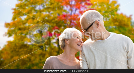 senior couple over autumn park background stock photo, old age, love and people concept - senior couple over autumn park background by Syda Productions