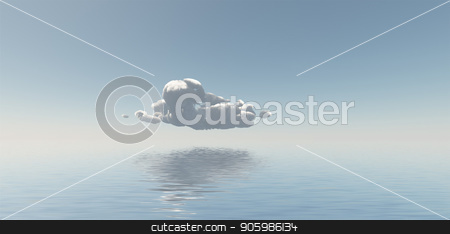 Single Cloud stock photo, Single Cloud Floats Above Still Water by Bruce Rolff