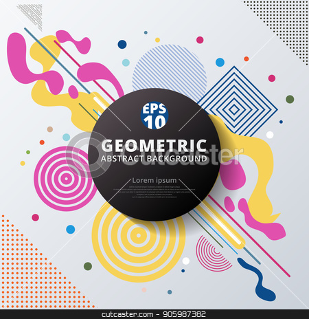 Abstract Colorful Color Circle Geometric Pattern Design And