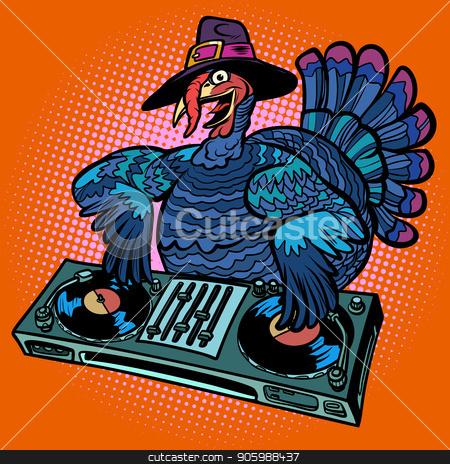 Thanksgiving Turkey character. DJ at the holiday party stock vector clipart, Thanksgiving Turkey character. DJ at the holiday party. Comic cartoon pop art retro vector illustration by rogistok
