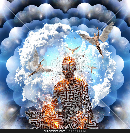 Meditation in lotus pose stock photo, Surrealism. Burning figure of man with maze pattern meditates in lotus pose. Men with wings represents angels. Multi layered spaces. by Bruce Rolff