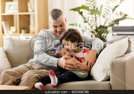 happy father with preteen and baby son at home stock photo, family, fatherhood and people concept - happy father with preteen and baby son at home by Syda Productions