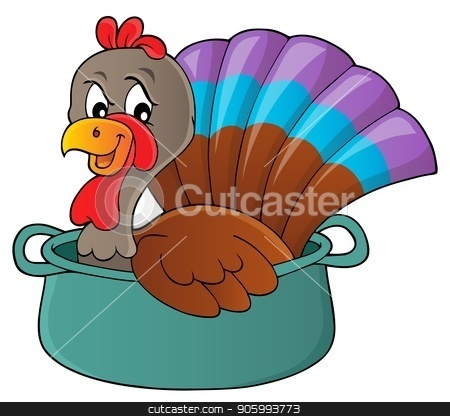 Turkey bird in pan theme image 1 stock vector clipart, Turkey bird in pan theme image 1 - eps10 vector illustration. by Klara Viskova