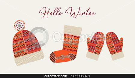 Hello Winter Card Boho Tribal Holiday Clothes Stock Vector