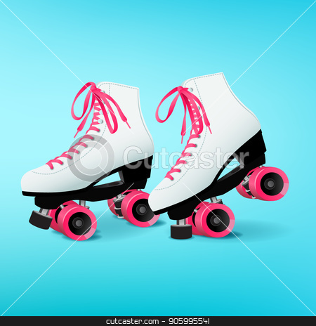 Pair of white roller skates with pink shoelaces on blue background stock vector clipart, Pair of white roller skates with pink shoelaces on blue background, pink wheels, equipment for outdoor activities, vector illustration in flat style by MarySan