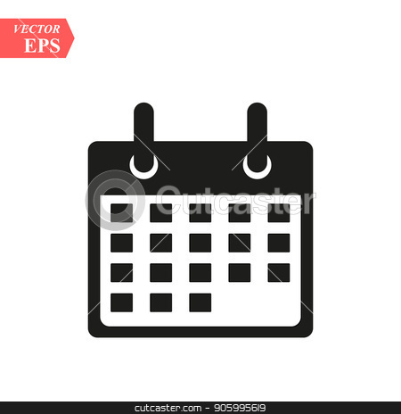 Flat calendar Icon. Calendar on the wall. Vector illustration. stock vector clipart, Flat calendar Icon. Calendar on the wall. Vector illustration. eps10 by elnurbabayev