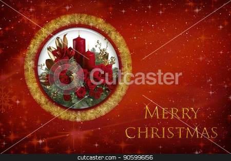 Merry Christmas and happy New year greeting card. stock photo, New year and Christmas card with a bouquet of roses and a congratulatory inscription on a red background. by Georgina198